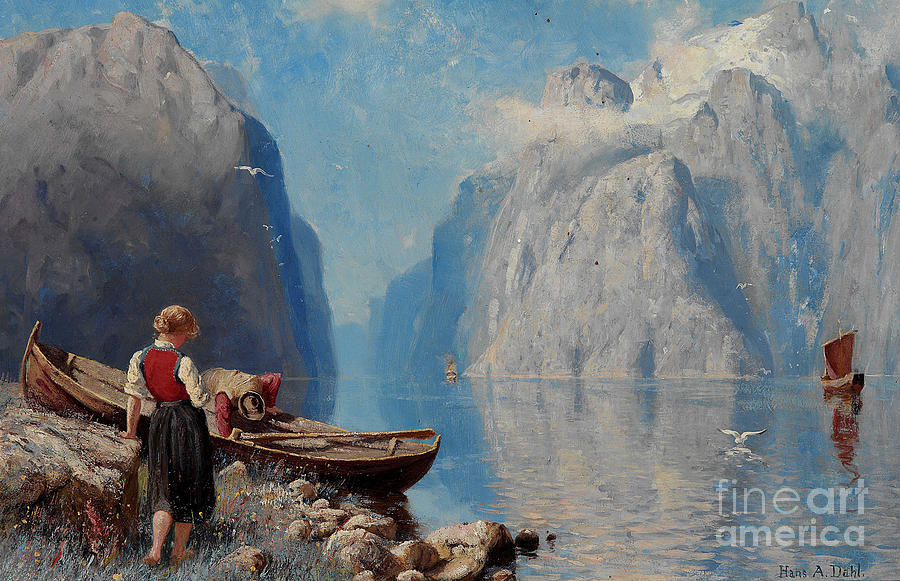 Forest Painting -  Fjord Landscape by Hans Andreas Dahl