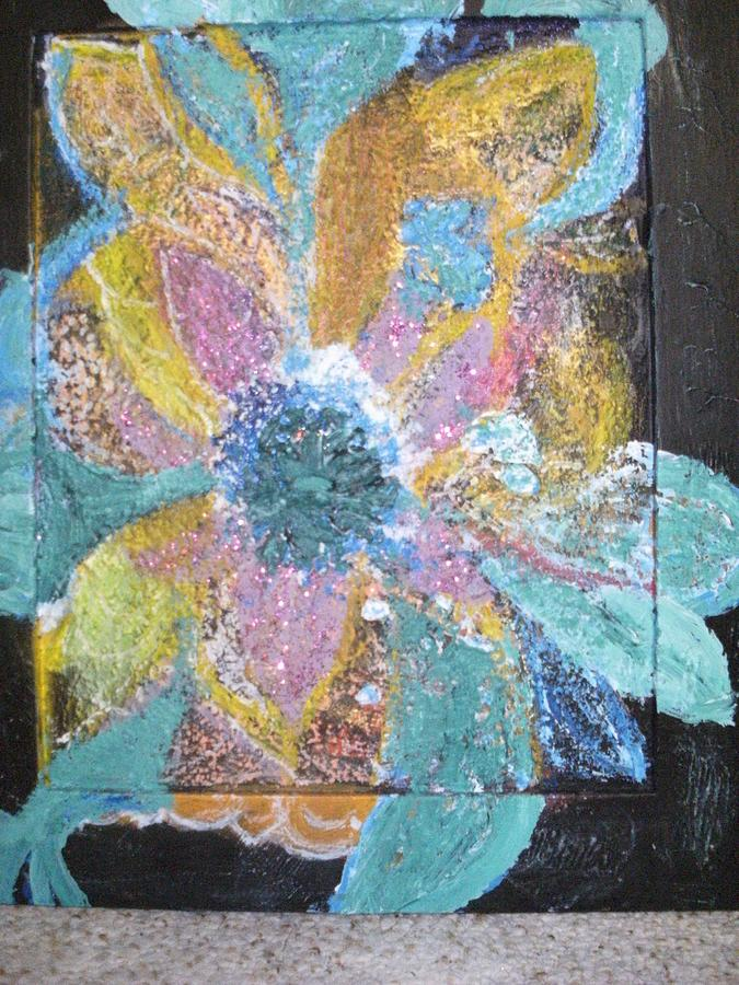 Abstract Floral Painting -  Flowover Flowers Uncropped  by Anne-Elizabeth Whiteway