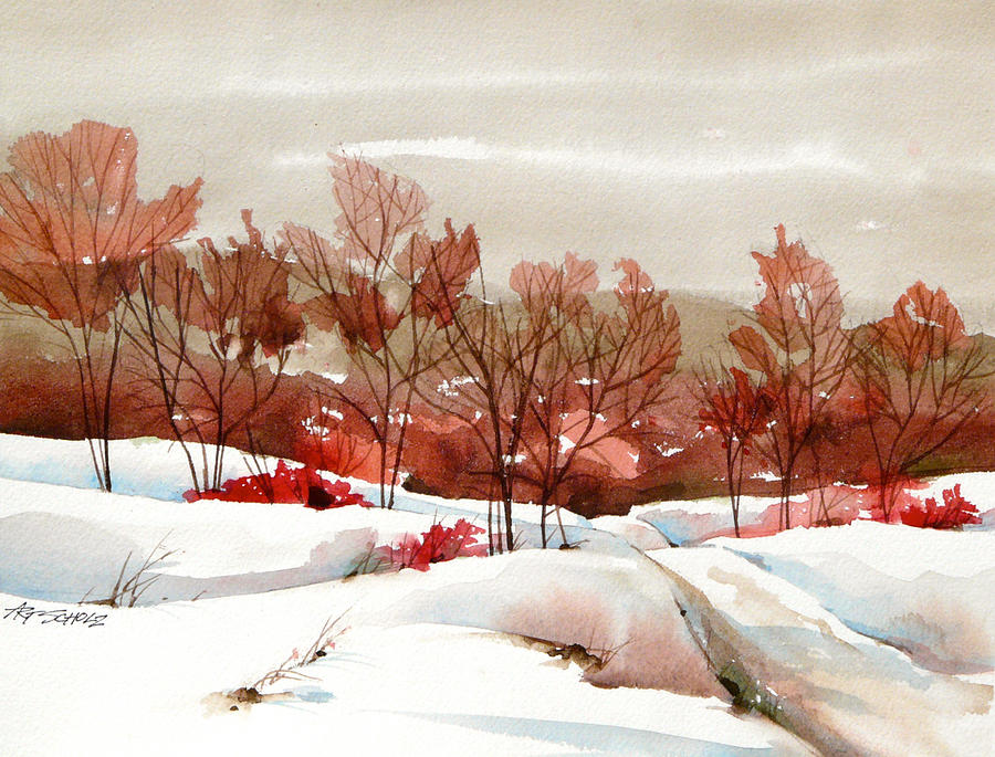 Red Trees Painting -   Frosted Red by Art Scholz