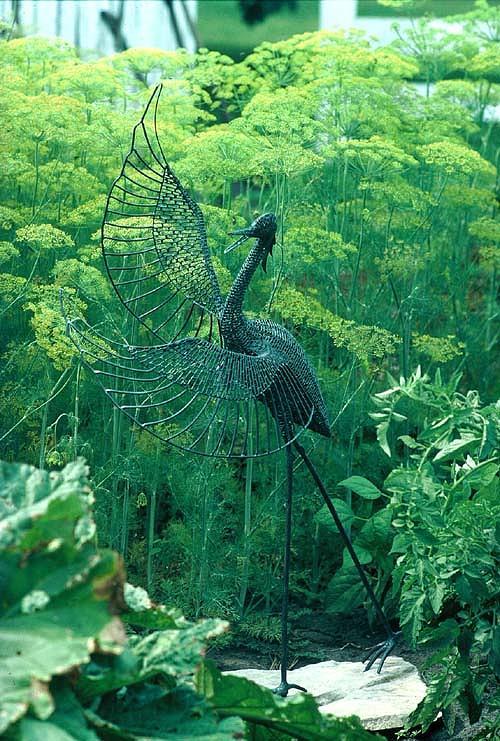 Bird Sculpture -  Garden Heron by Ric Larson