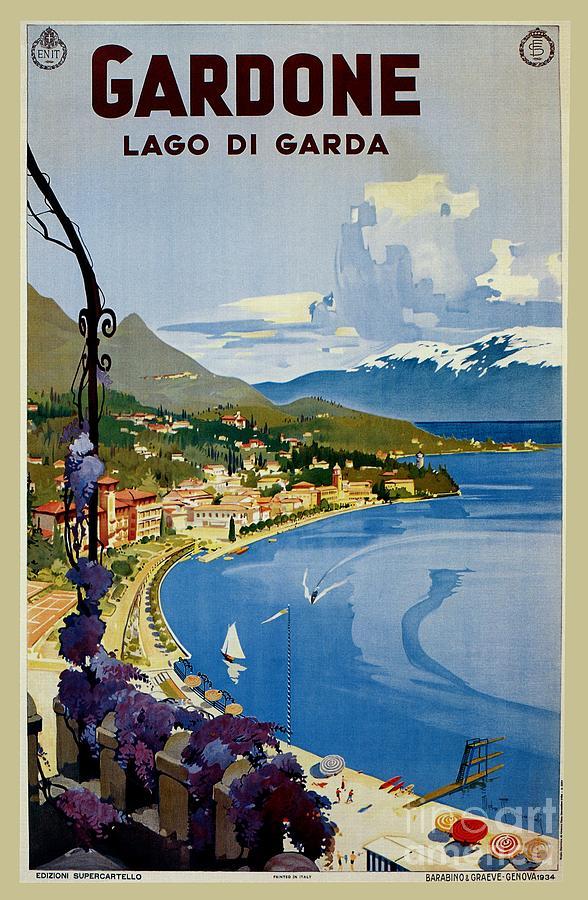 Vintage Digital Art -  Gardone Lake Garda Italian Travel by Heidi De Leeuw