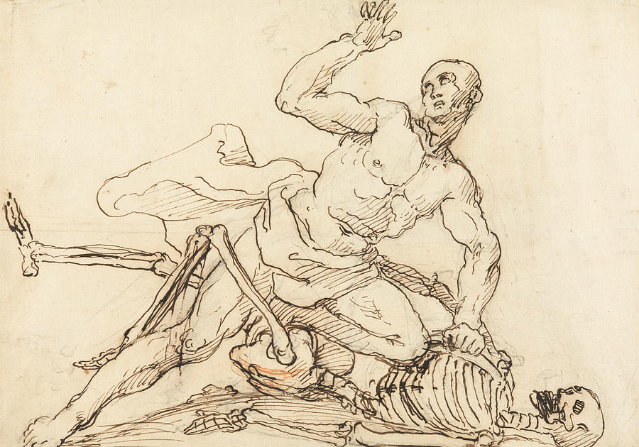 William Hogarth Drawing - George Taylors Epitaph - George Taylor Breaking The Ribs Of Death  by William Hogarth