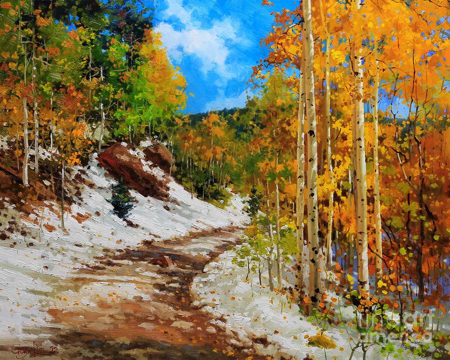 Aspen Tree Painting -  Golden aspen trees in snow by Gary Kim