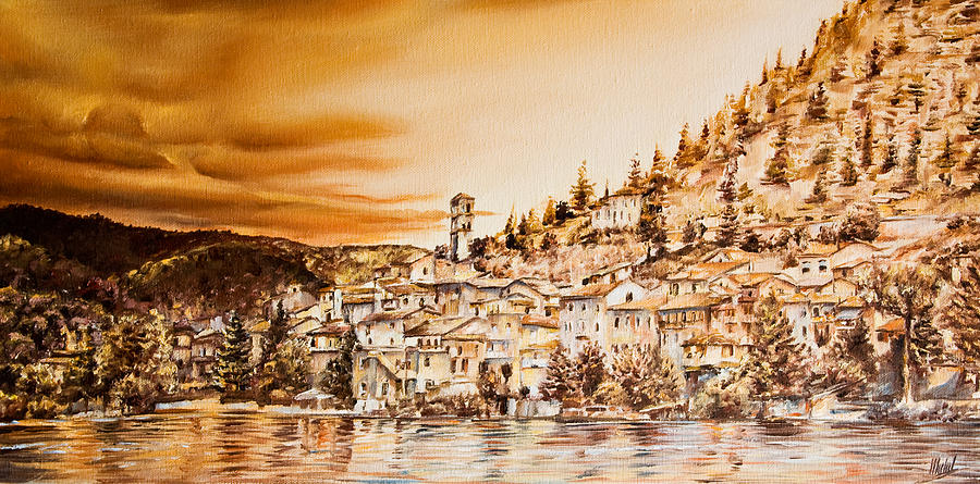 Landscapes Painting -  Golden Reflections by Michel Angelo Rossi