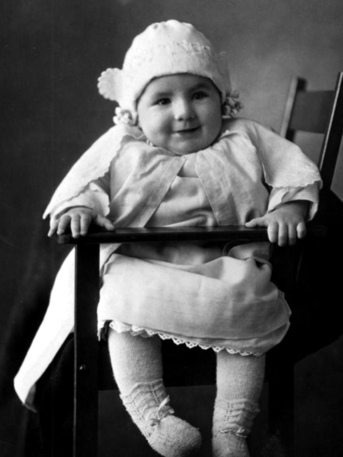 Happy photograph happy baby in chair 1900s black white 1890s by mark goebel