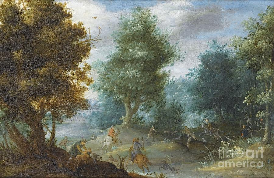 Hunting With Hounds Painting by Celestial Images