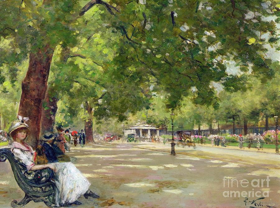 Hyde Painting -  Hyde Park - London by Count Girolamo Pieri Nerli
