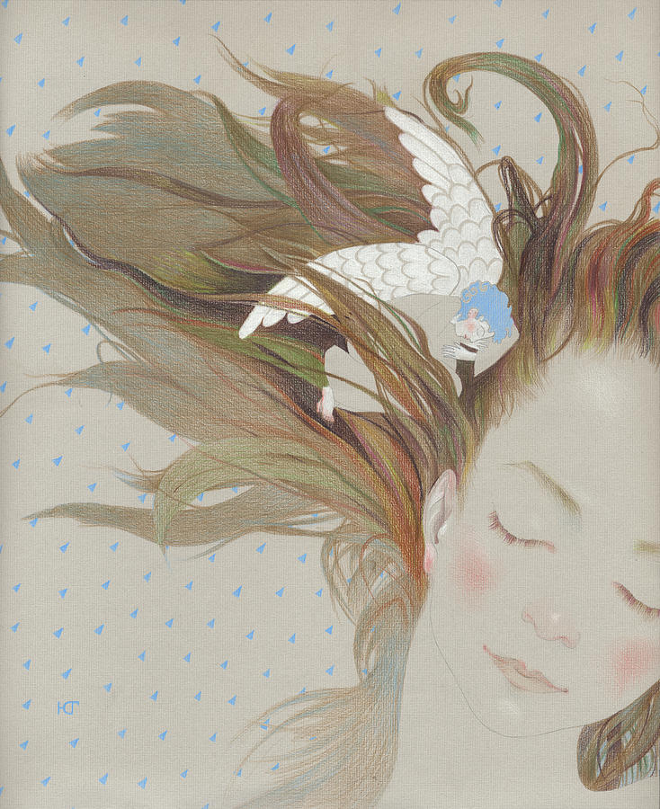 I Can Fly In My Dreams Drawing by Ekaterina Goncharova