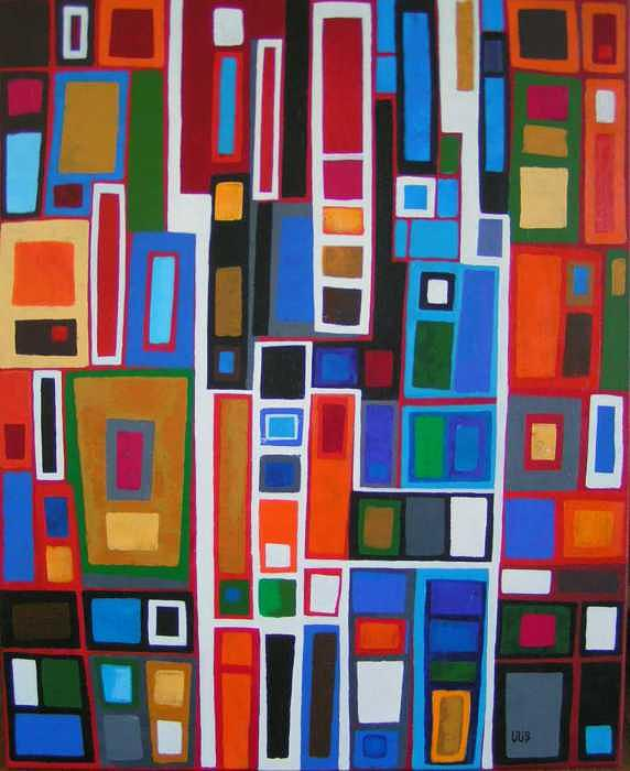 Geometric Abstract Painting -  I  Exclamation by Lili Vanderlaan
