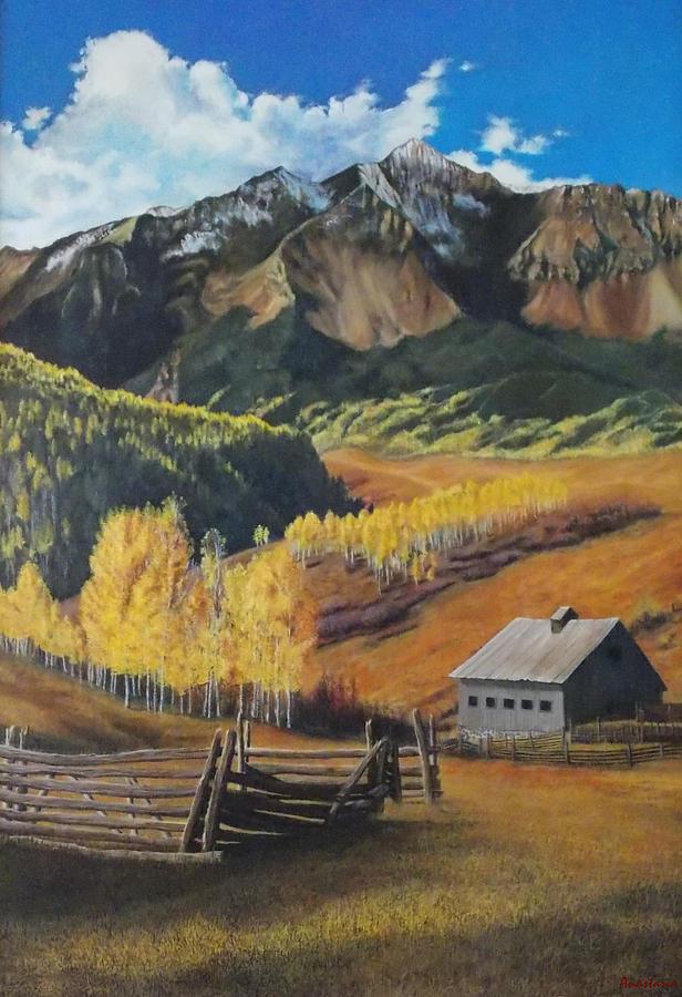 Colorado Rockies Painting -  I Will Lift Up My Eyes To The Hills Autumn Nostalgia  Wilson Peak Colorado by Anastasia Savage Ealy