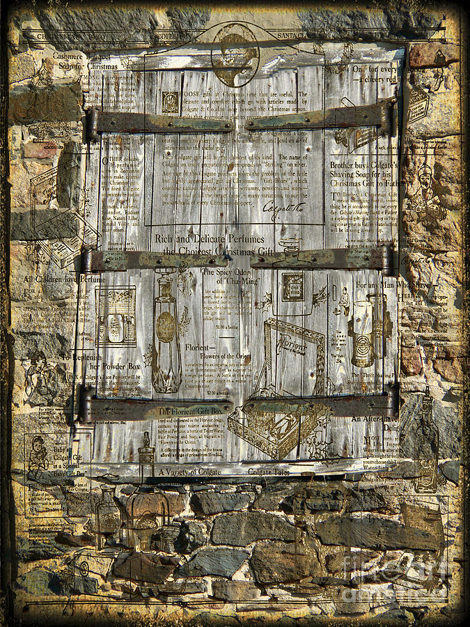Stone Photograph -  In The News Vintage Hay Barn Door by Heinz G Mielke