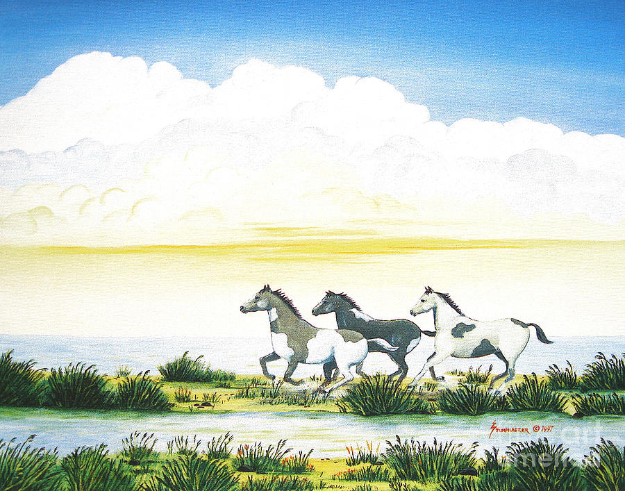 Chincoteague Painting -  Indian Ponies by Jerome Stumphauzer