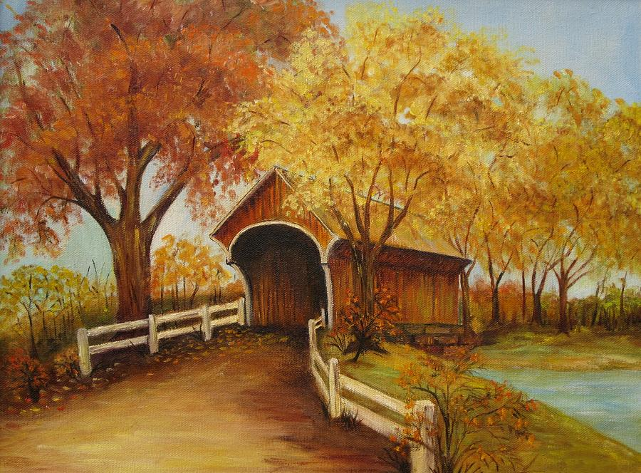 Autumn Bridge Acrylic Painting