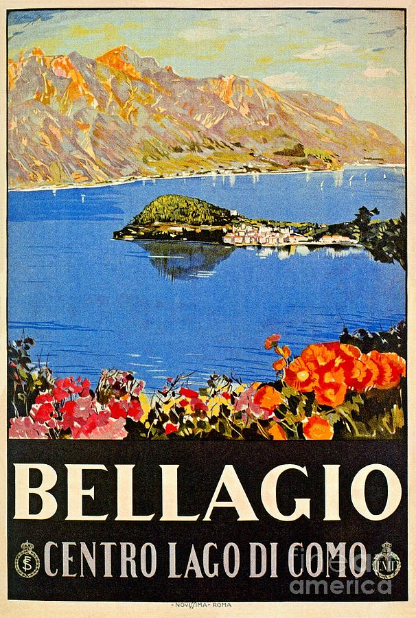 Italy Bellagio Lake Como Vintage Italian Travel Advert Digital Art