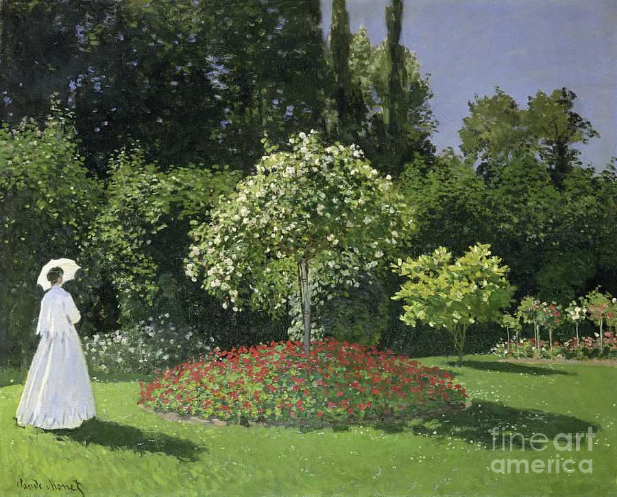 Claude Monet Painting -  Jeanne Marie Lecadre In The Garden by Celestial Images