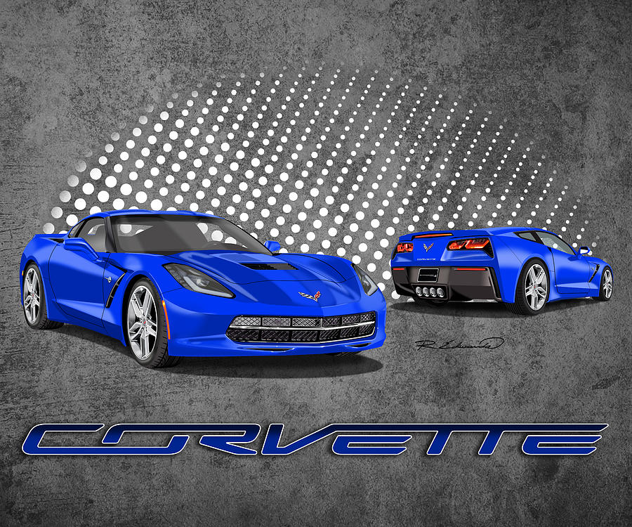 Chevrolet Corvette Stingray Painting   Laguna Blue   C7 Stingray Corvette  By Rudy Edwards