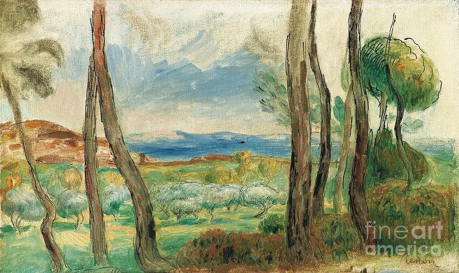 Pierre-auguste Renoir Painting -  Landscape Mediterranean by Celestial Images