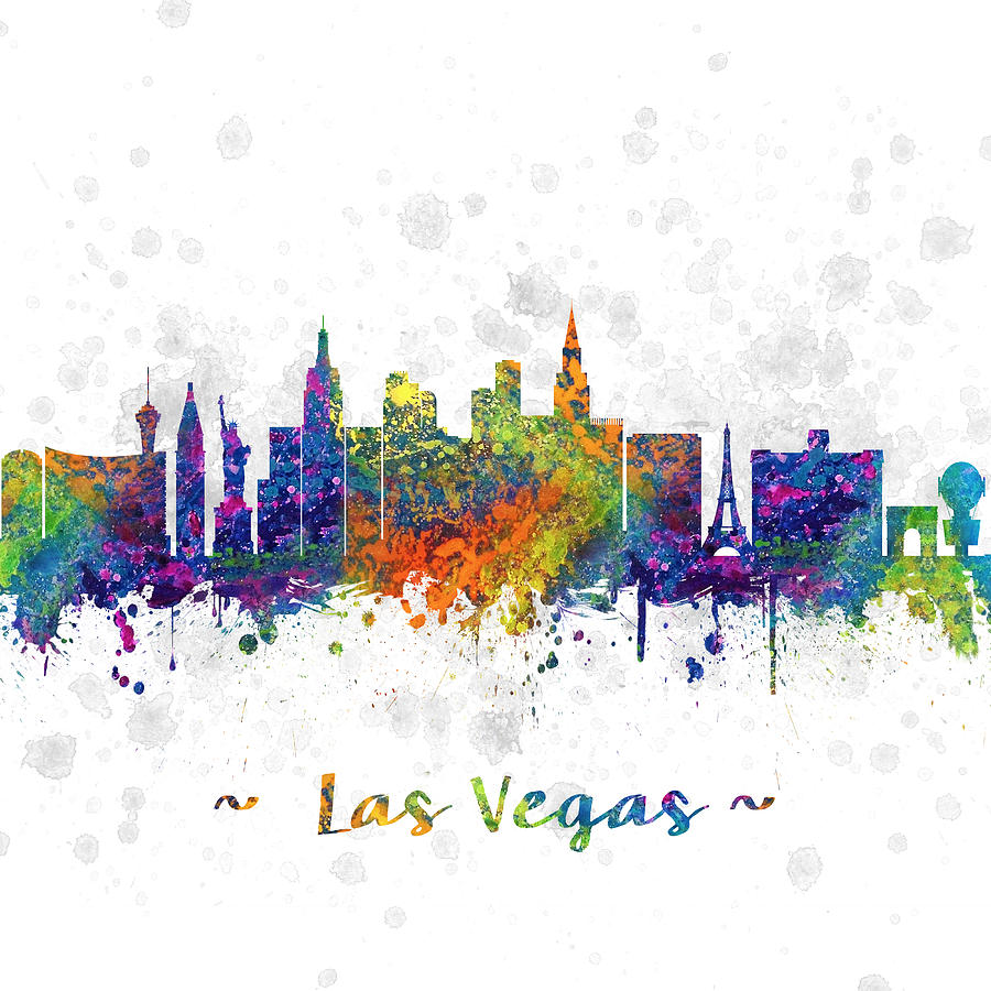 Las Vegas Nevada Skyline Color 03sq Digital Art by Aged Pixel