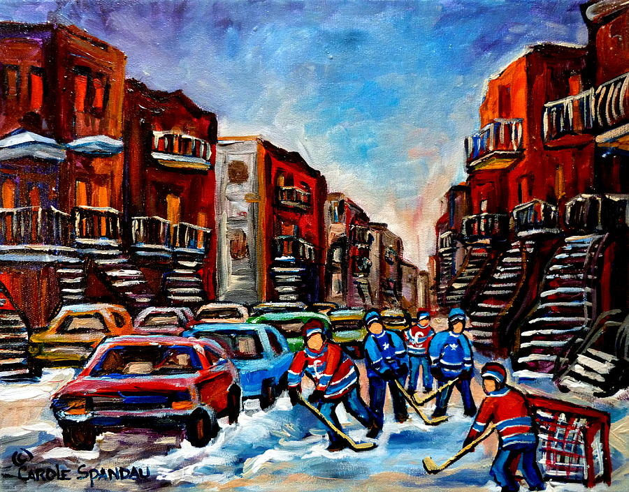 Montreal Painting -  Late Afternoon Street Hockey by Carole Spandau