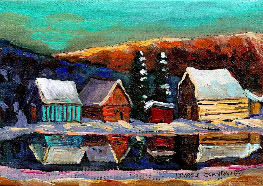 Landscape Painting -  Laurentian Landscape Quebec Winter Scene by Carole Spandau