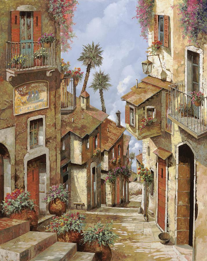Landscape Painting -  Le Palme Sul Tetto by Guido Borelli