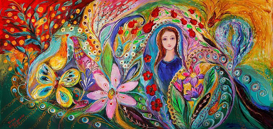 Fantasy Painting -  Leah And Flower Of Mandragora by Elena Kotliarker