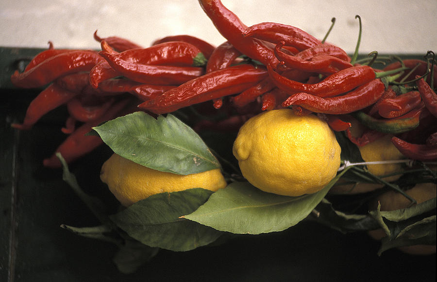 Lemons Photograph -  Lemons And Dried Red Peppers  For Sale by Richard Nowitz