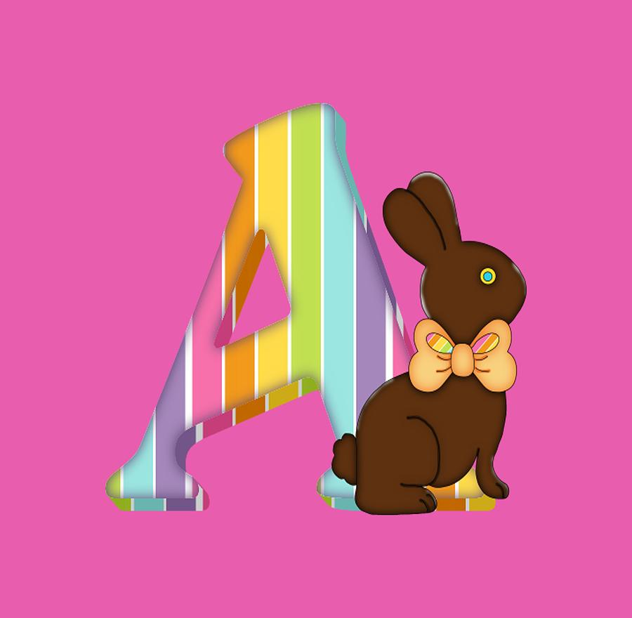 769893a78 Alphabet Digital Art - Letter A Chocolate Easter Bunny by Debra Miller