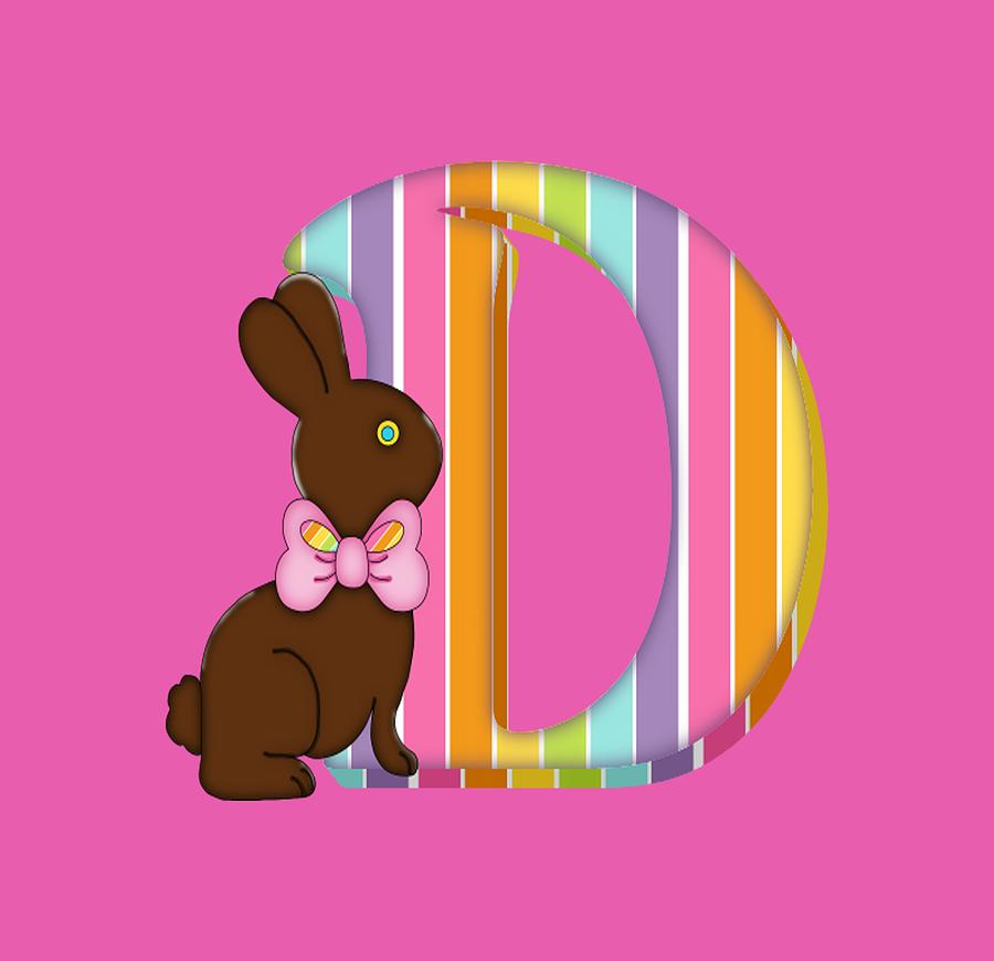 Letter D Chocolate Easter Bunny Digital Art By Debra Miller