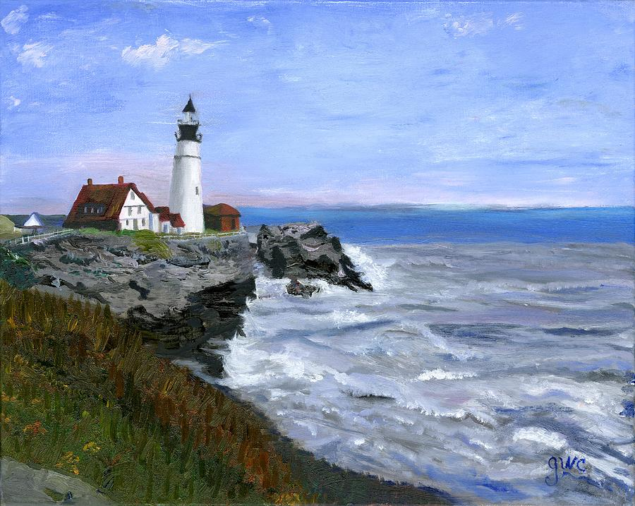 Ocean Painting -  Lighthouse South Portland Me  by Gloria Condon