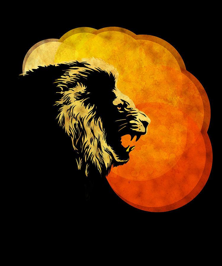 Lion Heart Painting -  Lion Illustration Print Silhouette Print Night Predator by Sassan Filsoof