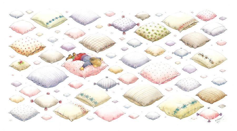 Dream Sky Sleep Heaven White Painting -  Lisas Journey01 by Kestutis Kasparavicius