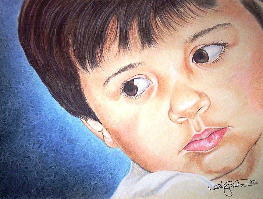 Boy Pastel -  Little Boy Blue by Angela Mustin