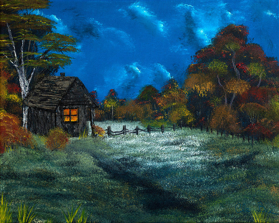 Farm Painting -  Little Pigs Barn In The Moonlight by Claude Beaulac