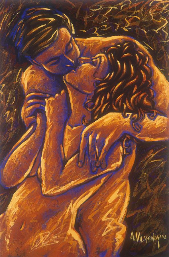 Acrylic Painting -  Los Amantes The Lovers by Arturo Vilmenay