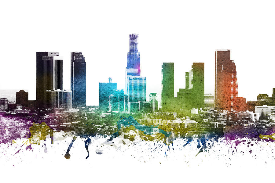 Los Angeles Digital Art -  Los Angeles Cityscape 01 by Aged Pixel