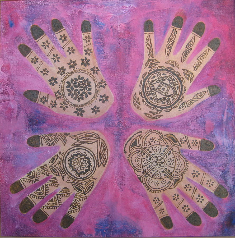 Hand Painting Painting -   Maos De Renna by Shanta Rathie