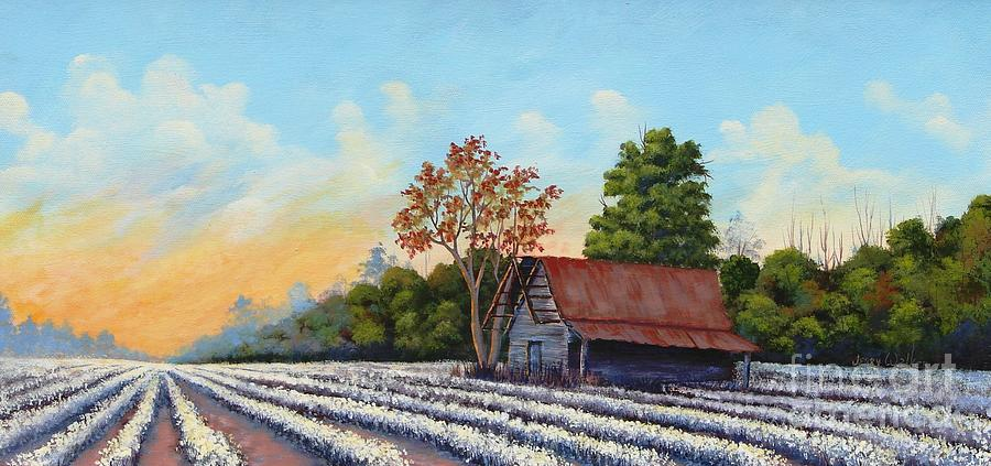 Farm Painting -  Montmorenci Cottonfield by Jerry Walker