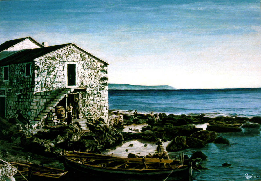 Original Painting -  Morning In Komiza by Branko Reic