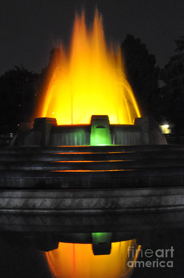 Clay Photograph -  Mulholland Fountain Reflection by Clayton Bruster