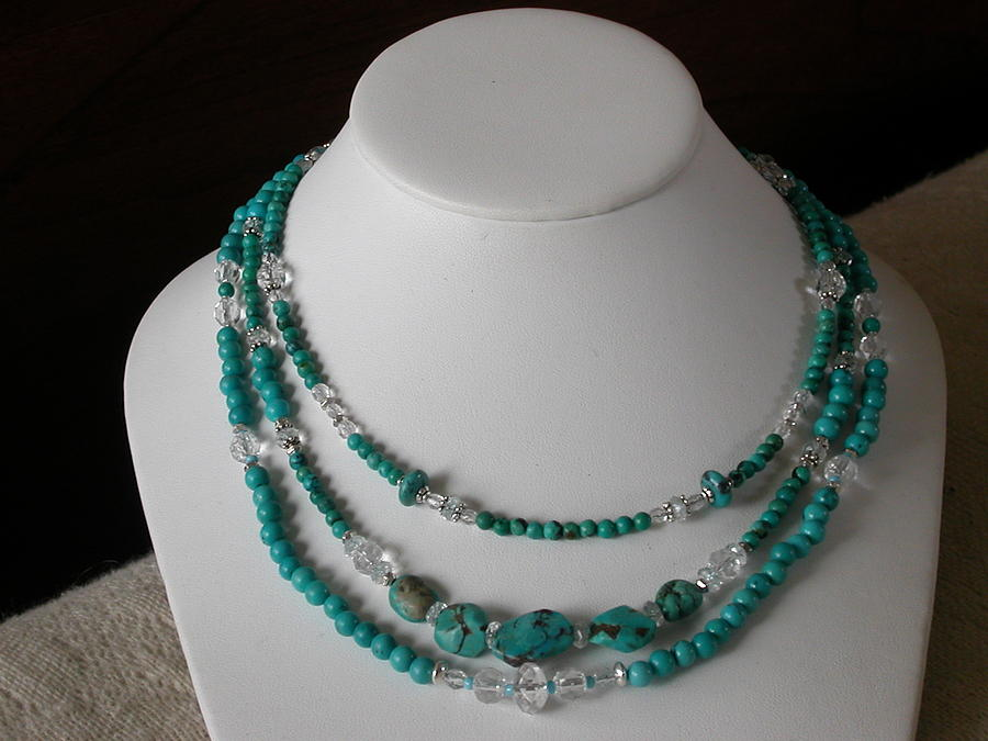 Necklace Jewelry -  Multi Strand Turquoise  by Pia Bacigalupi