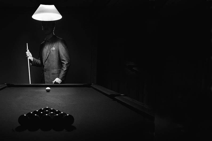 Mystery Pool Player Behind Rack Of Photograph By Richard Wear