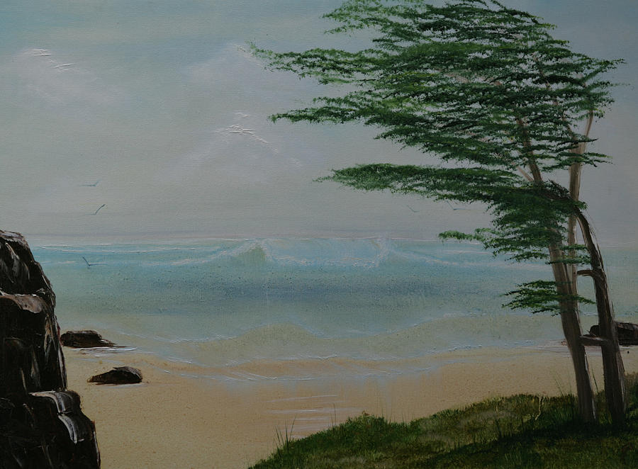 Seascape Painting -  Northern California Coast by Robin Lee