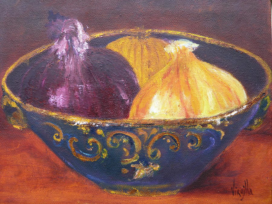 Onions Painting -  Onion Paintings - Rustic Bowl With Onions Virgilla Art by Virgilla Lammons