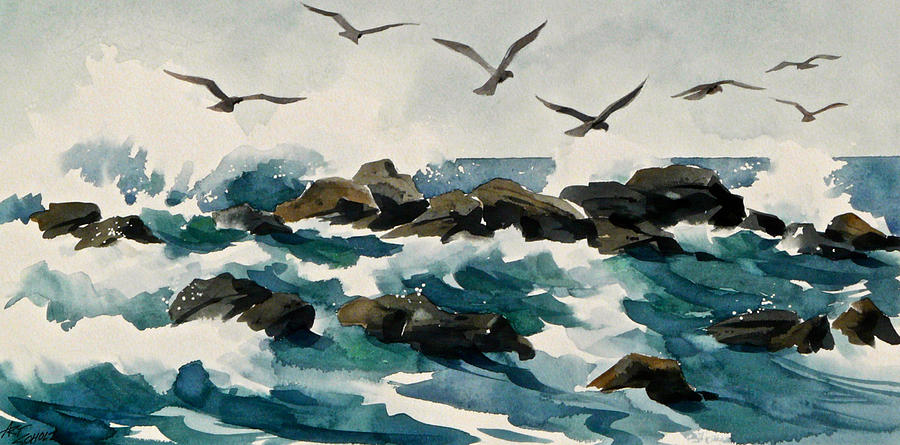Waves Painting -    Out To Sea by Art Scholz