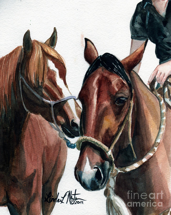 Wild Horse Painting -  Overlapping by Linda L Martin