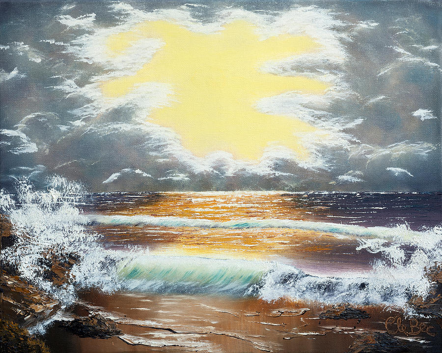 Sunset Painting -  Pacific Ocean Storm  by Claude Beaulac