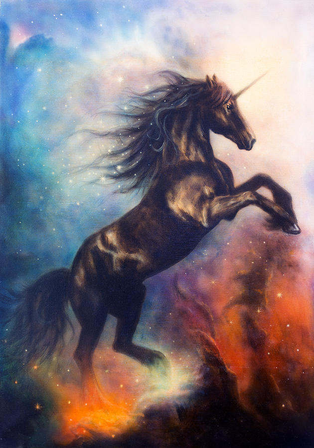 Painting Of A Black Unicorn Dancing In Space Painting By