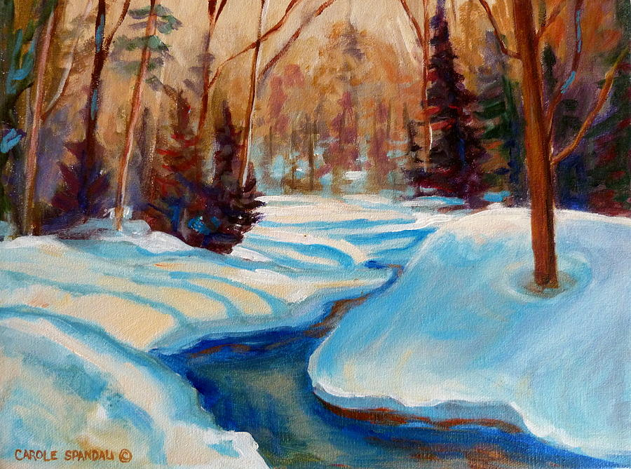 Peaceful Winding Stream Painting -  Peaceful Winding Stream by Carole Spandau