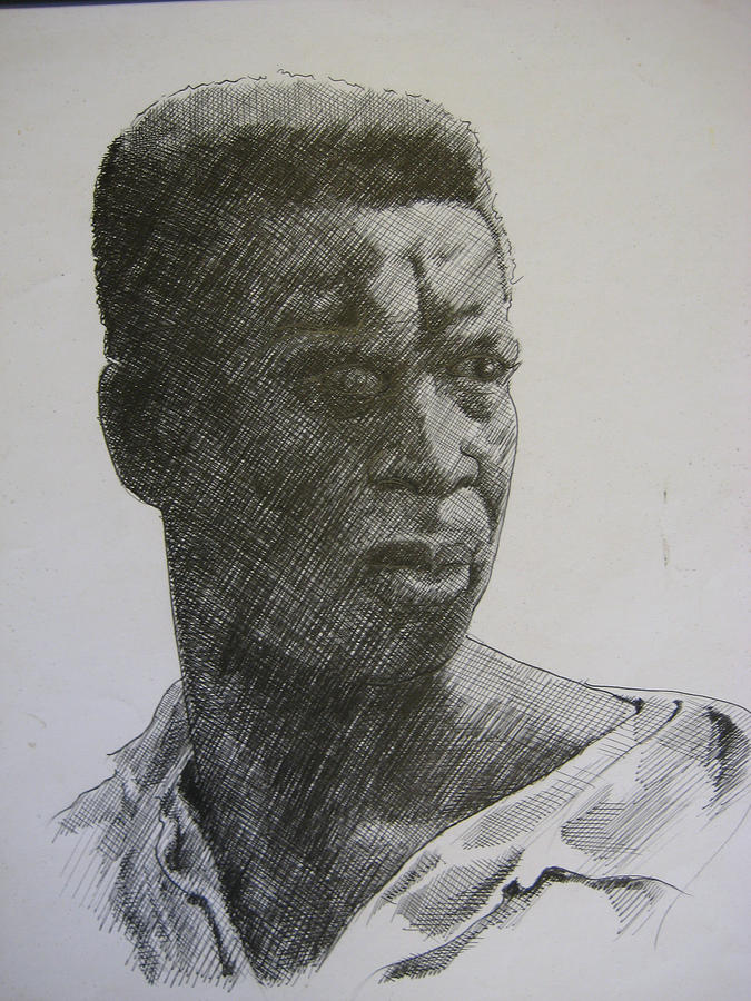 Face Drawing -  Photograph Of K. C. by Dalushaka Mugwana